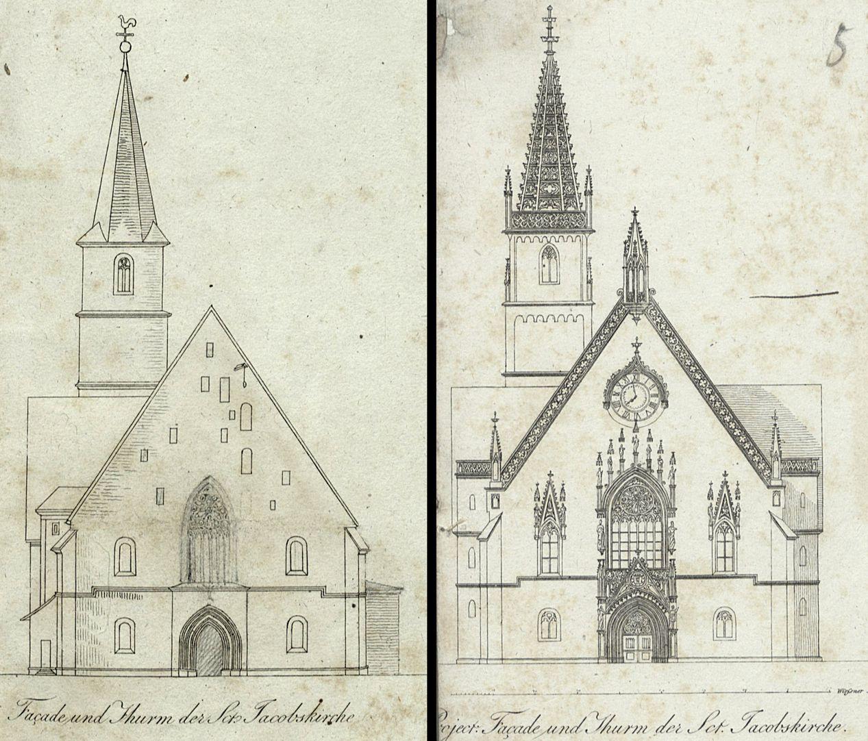 Entwurf zur Neugestaltung der Jakobskirche in Nürnberg Auf der Grafik links hatte Heideloff bereits das Treppengehäuse zum Giebel durch ein Maßwerkfenster ersetzt; auf der rechten Grafik sind Maßwerkfenster, Giebelhelm und Seitenfenster neugotisch, die weitgehend unausgeführt blieben.
