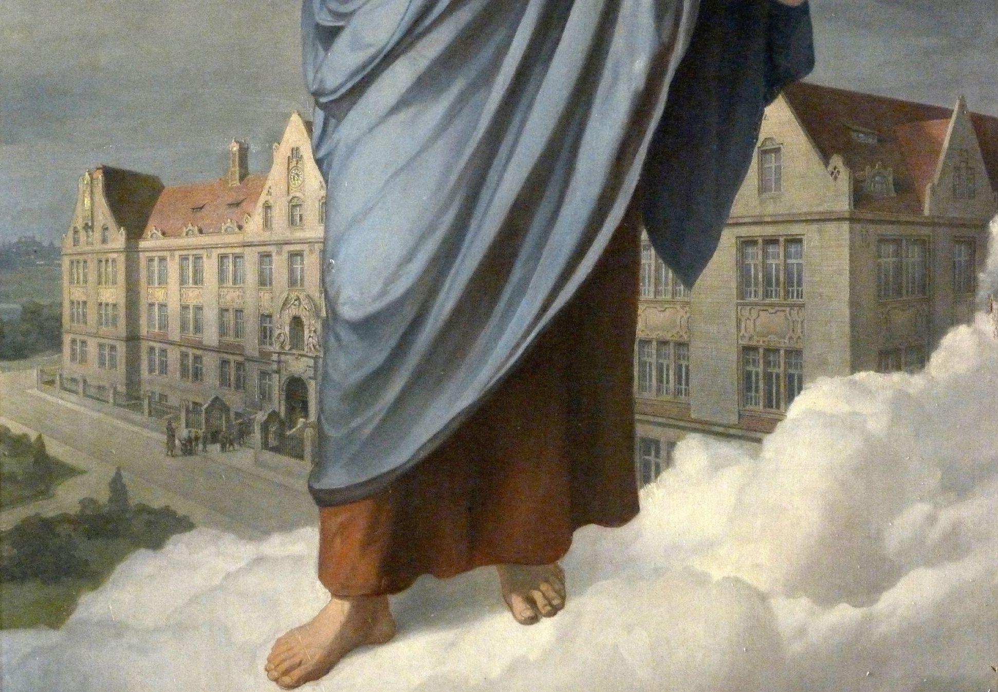 Jesus breitet segnend seine Hände über die Nürnberger Taubstummen-Anstalt aus Detail mit Schulgebäude