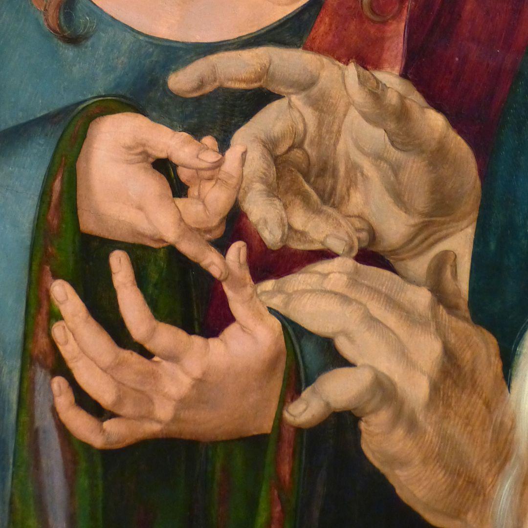 Der zwölfjährige Jesus unter den Schriftgelehrten Hände