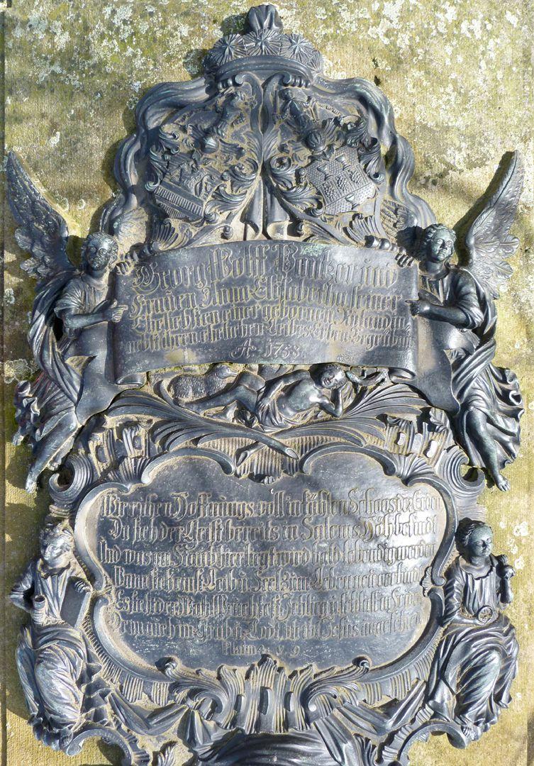 Tumba des Georg Wolff Pantzer und Ehefrau Anna Maria Elisabetha Ruland Inschriften der Kartusche samt Einrahmung