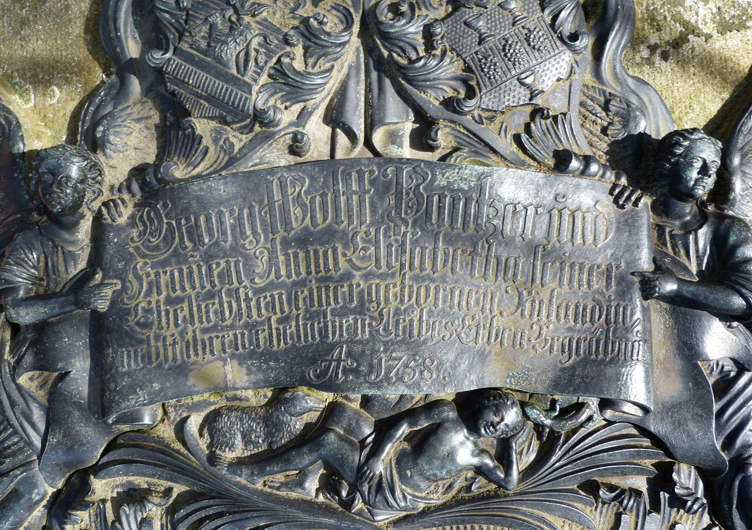 Tumba des Georg Wolff Pantzer und Ehefrau Anna Maria Elisabetha Ruland obere Inschrift