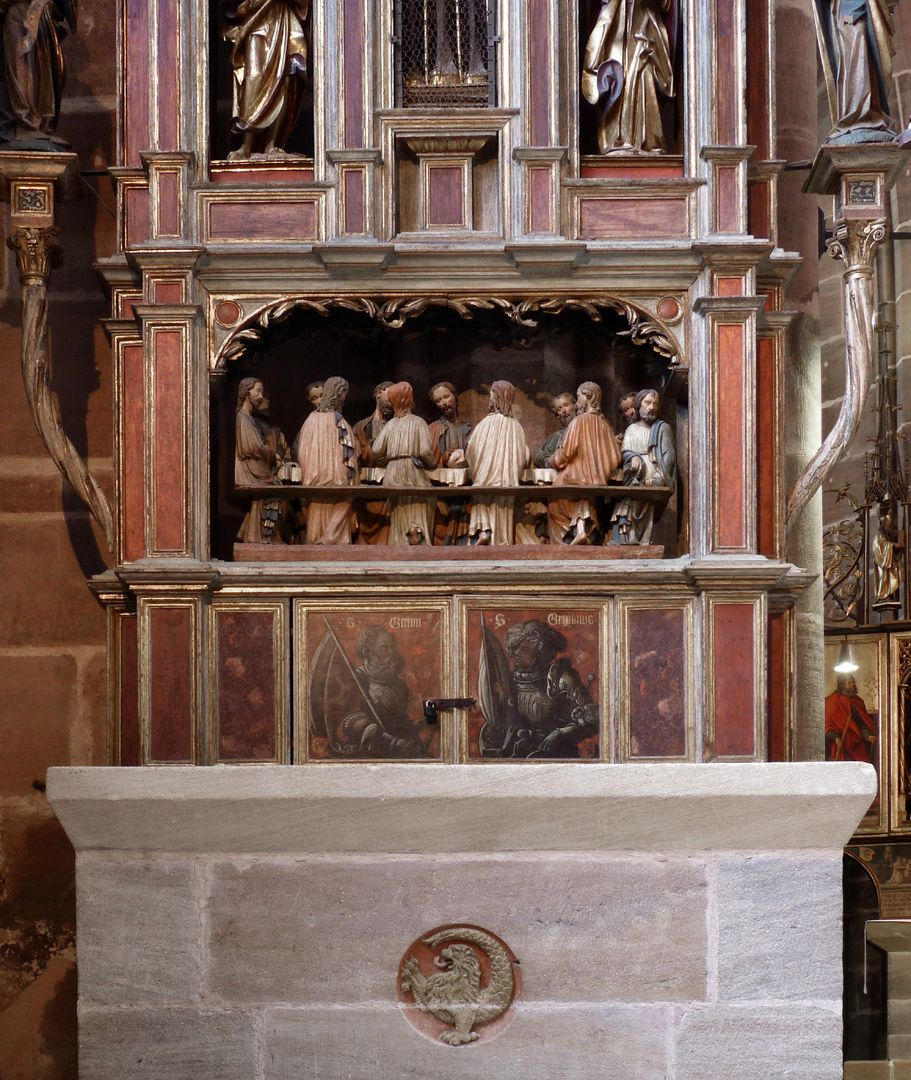 Johannesaltar (Altar der beiden Johannes) Altarmensa mit Imhofwappen