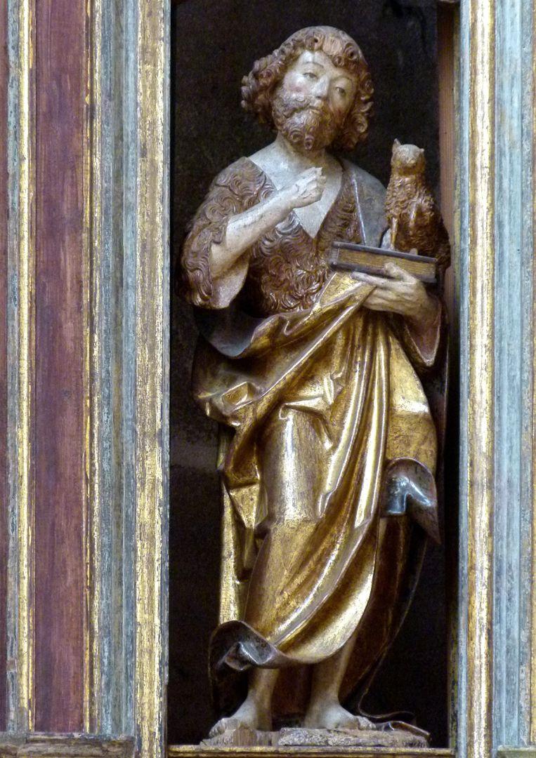 Johannesaltar (Altar der beiden Johannes) Johannes der Täufer mit Lamm auf einem Buch, das Schwert in der linken Hand ist verloren gegangen
