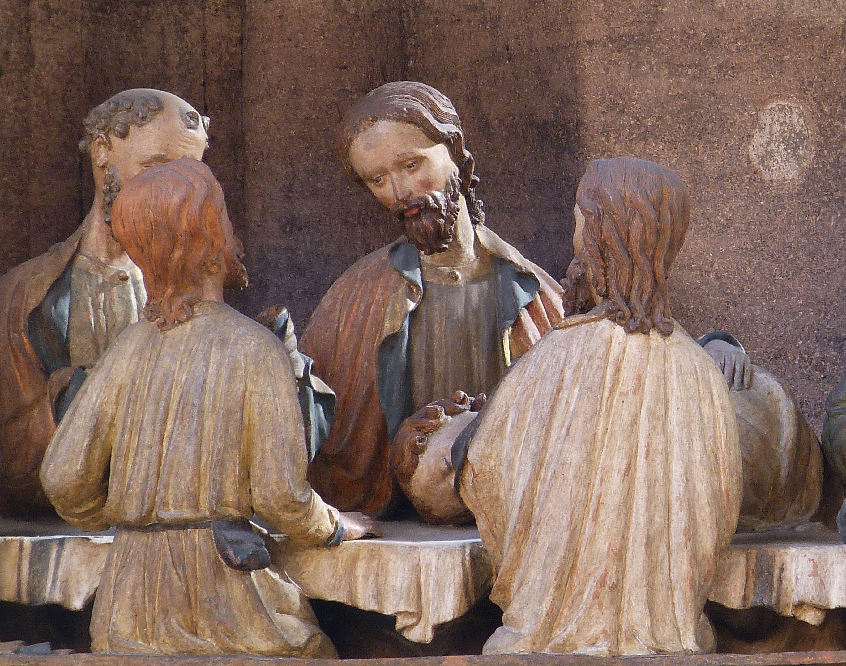 Johannesaltar (Altar der beiden Johannes) Abendmahl, Detailansicht mit Jesus und Aposteln