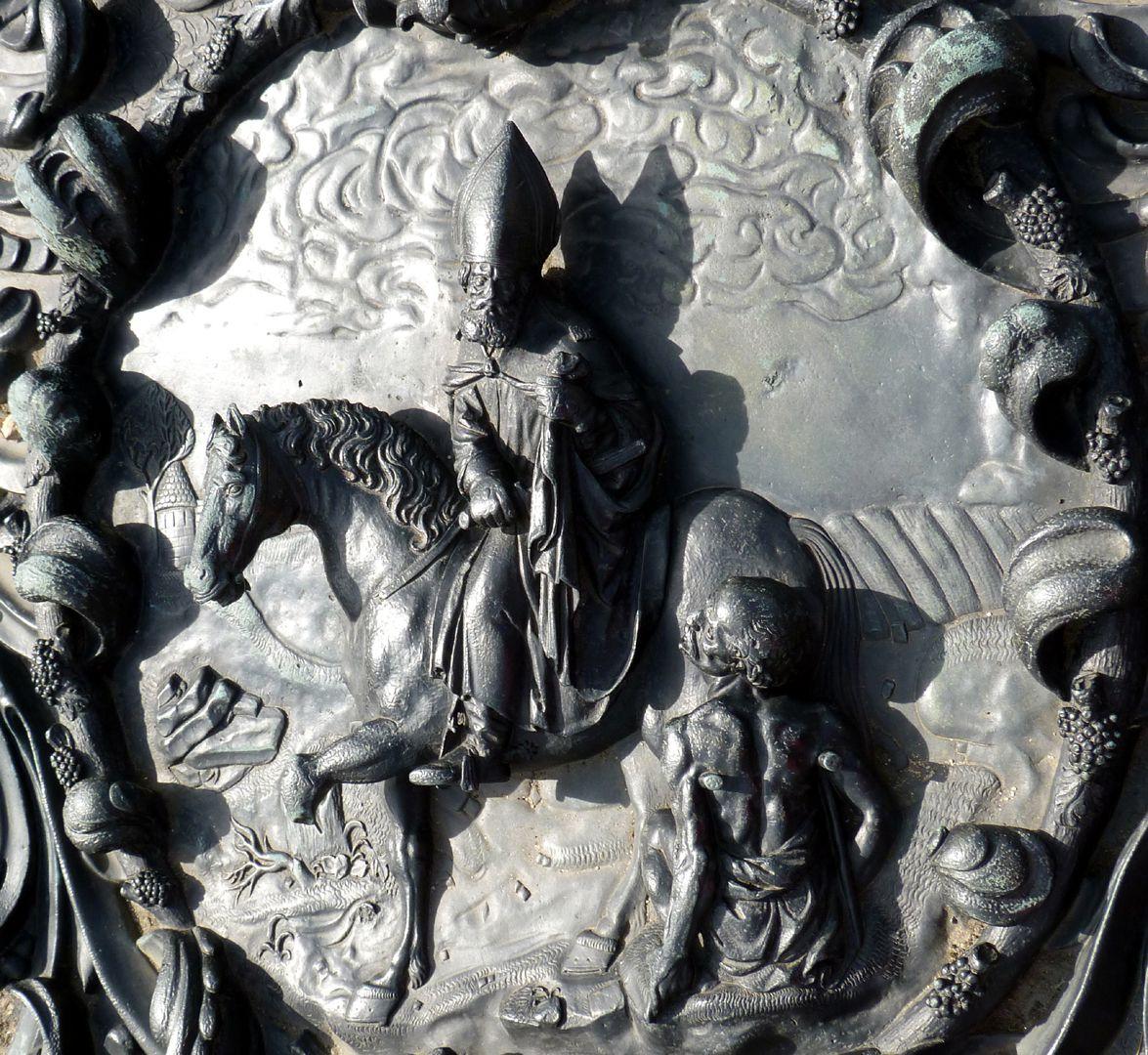 Epitaph des Martin Peller (gest. 1629) und Ehefrau Maria Viatis (gest. 1641) Detail des Martin als Bischof von Tours mit dem Bettler
