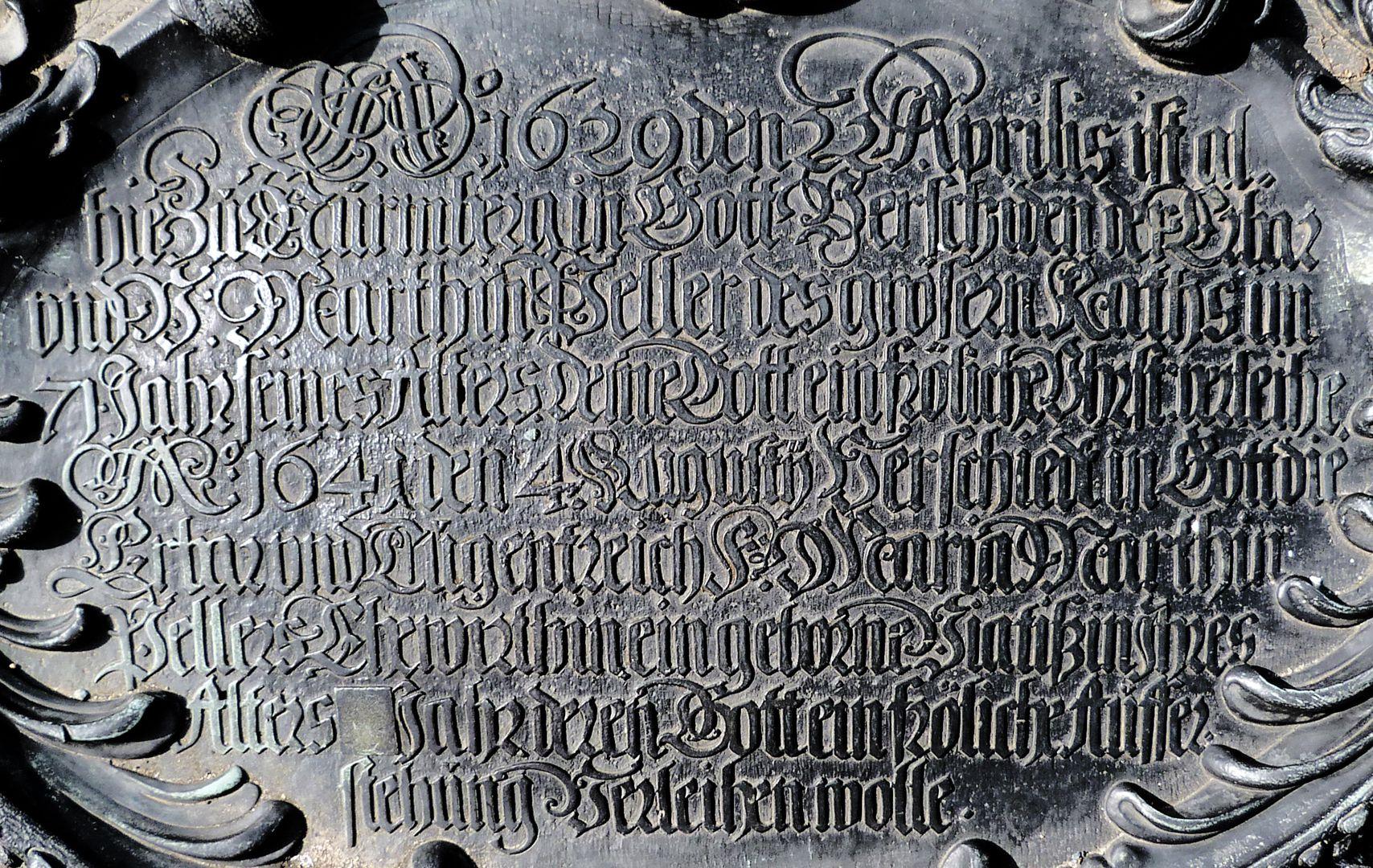 Epitaph des Martin Peller (gest. 1629) und Ehefrau Maria Viatis (gest. 1641) Inschriftkartusche, Detail Inschrift