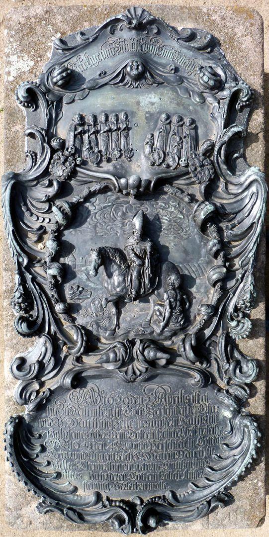 Epitaph des Martin Peller (gest. 1629) und Ehefrau Maria Viatis (gest. 1641) Ansicht von oben