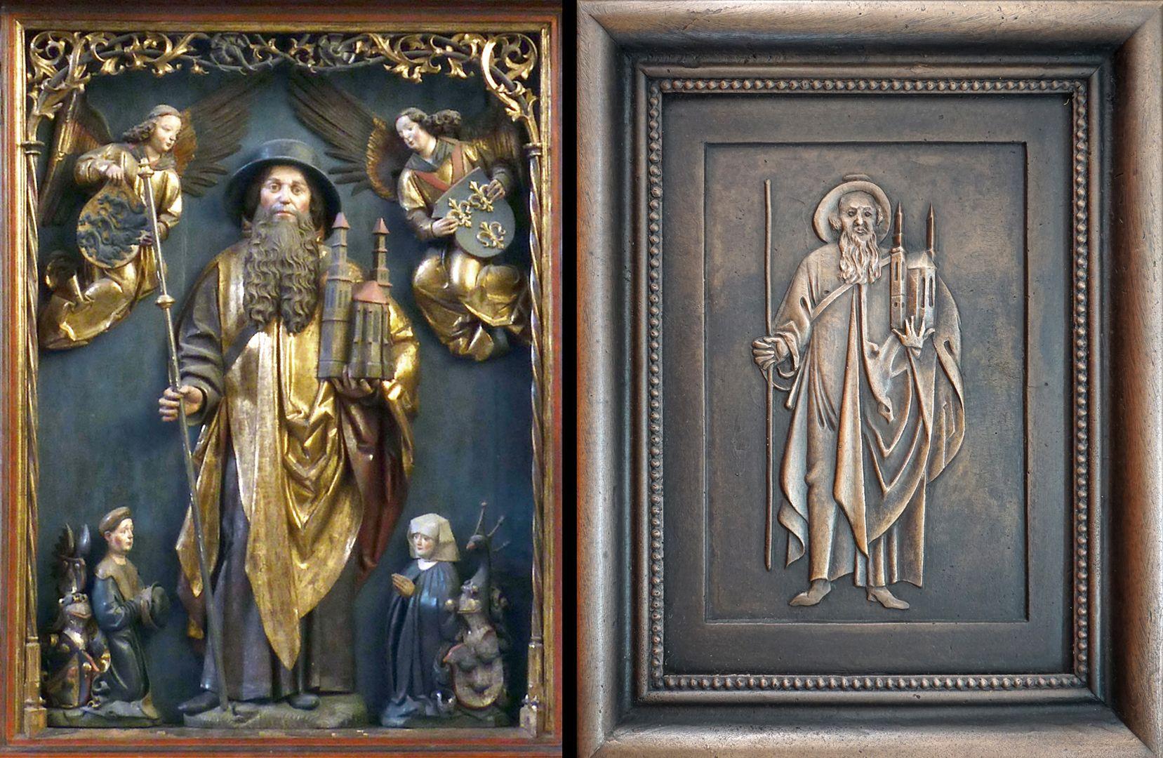 Paul Ritter Grabstätte links Sebaldus Altar in Schwäbisch Gmünd, rechts gerahmtes Detail auf dem Epitaph
