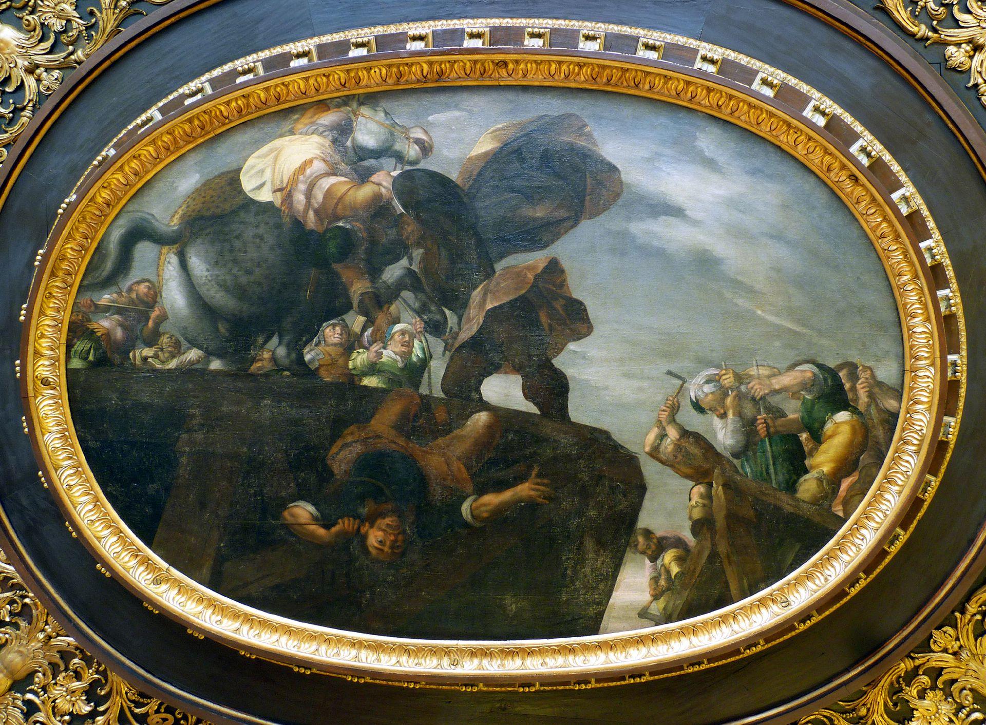 Deckengemälde im Kleinen Rathaussaal Abbruch der Tiberbrücke durch Horatius Cocles