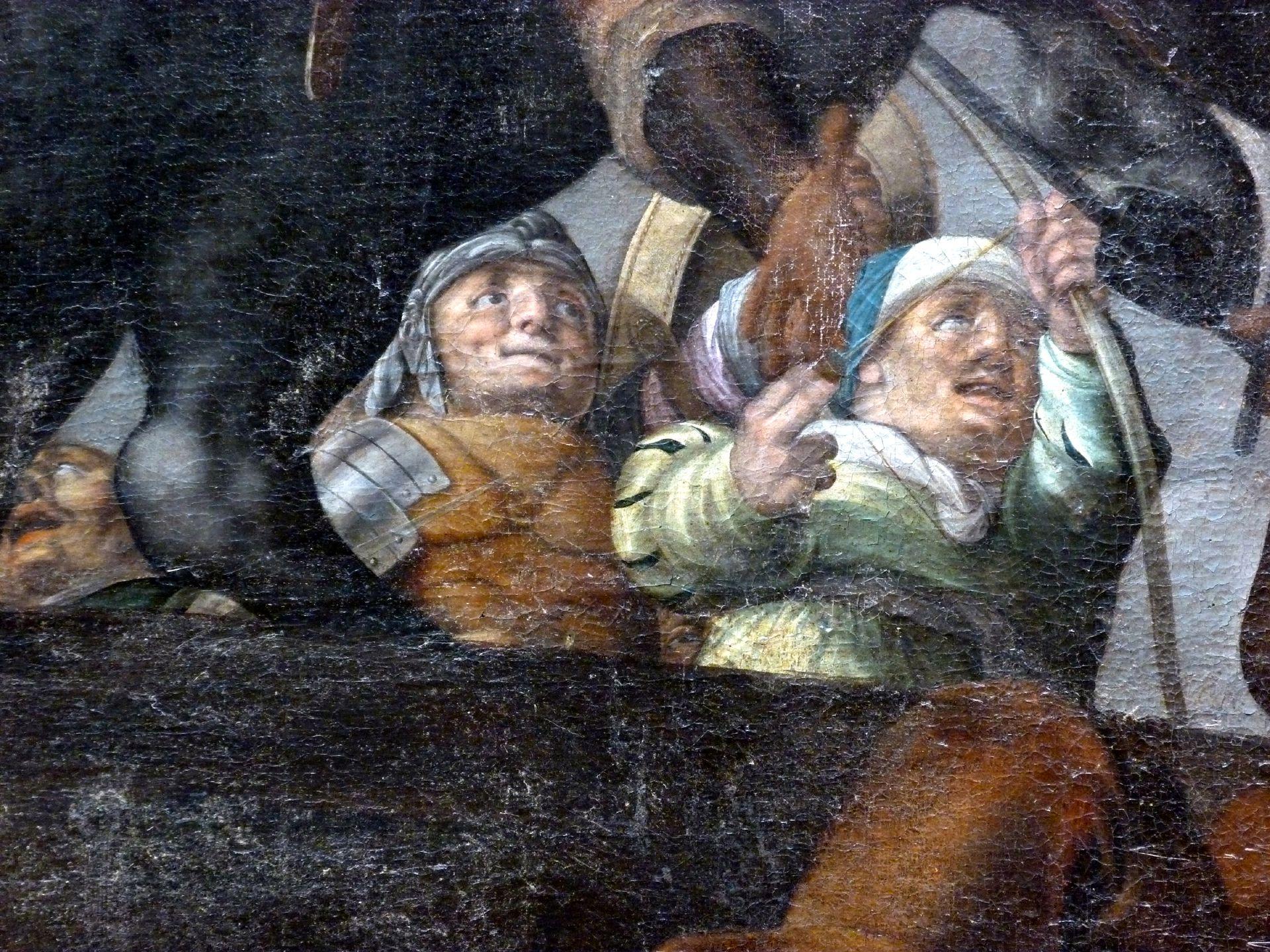 Deckengemälde im Kleinen Rathaussaal Abbruch der Tiberbrücke durch Horatius Cocles, Detail mit Kämpfer