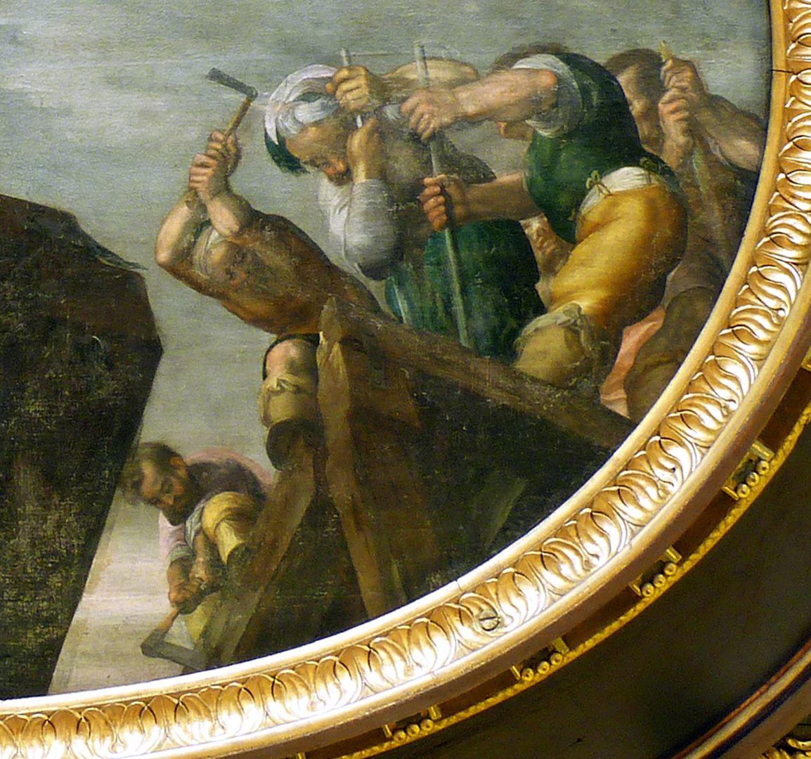Deckengemälde im Kleinen Rathaussaal Abbruch der Tiberbrücke durch Horatius Cocles, Detail mit Horatius Cocles