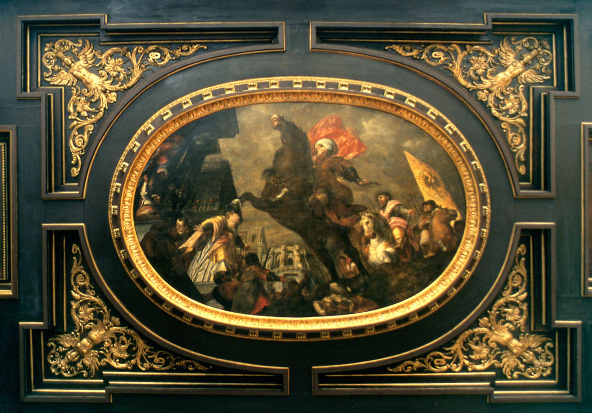 Deckengemälde im Kleinen Rathaussaal Heldentat des Marcus Curtius?