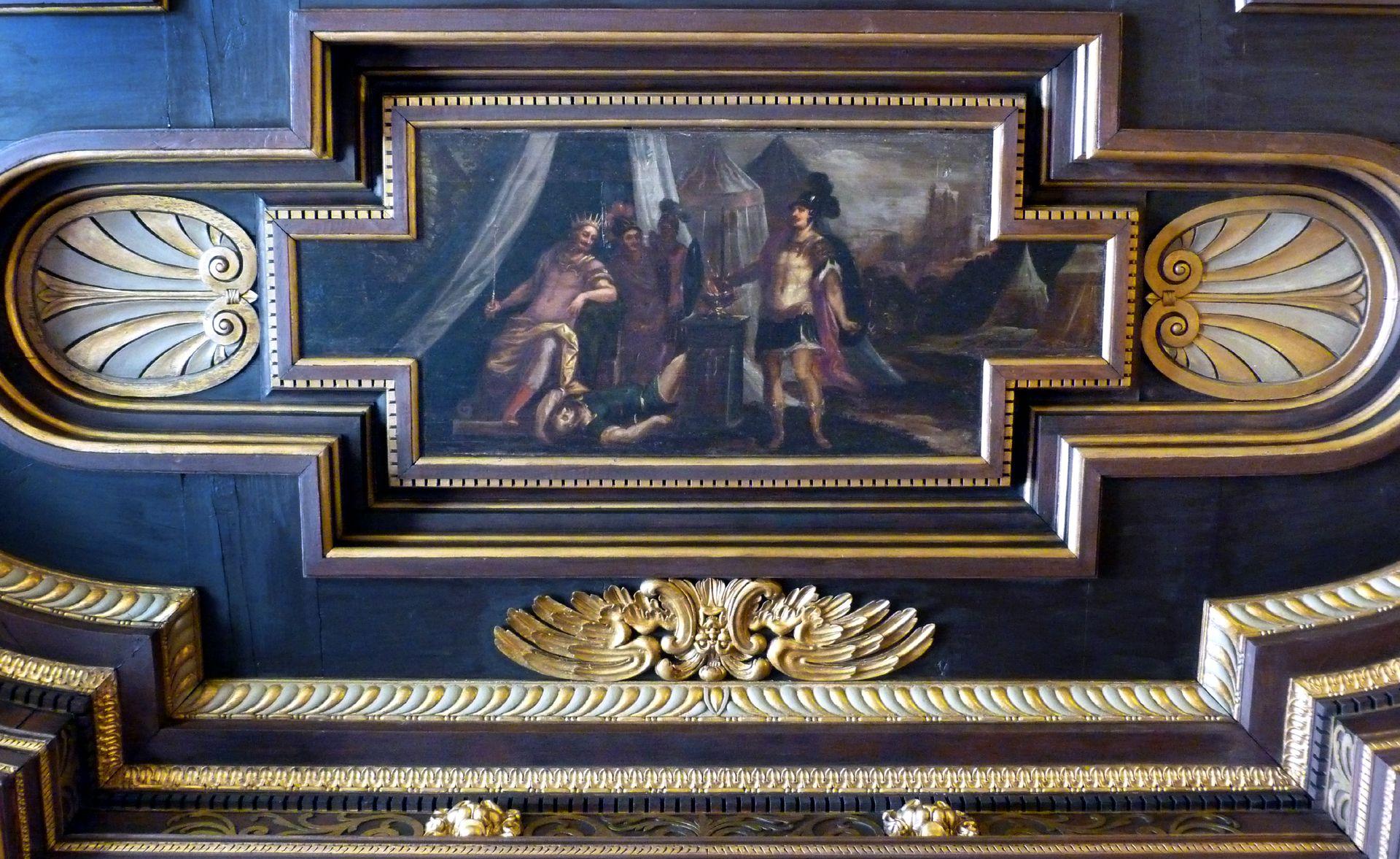 Deckengemälde im Kleinen Rathaussaal Kaiser Trajan übergibt dem Obersten der Leibwache sein Schwert