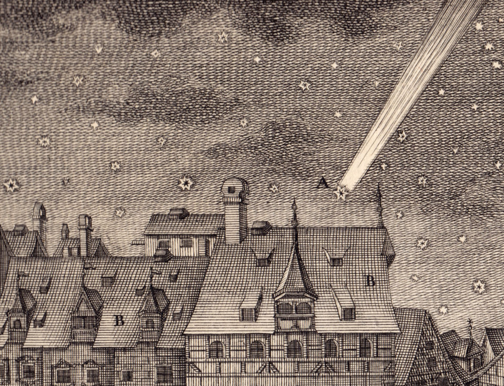 """""""Prospect, ein Theil der Häusser am Schießgraben gegen Morgen anzusehen (....)"""" Detail: Kometenerscheinung am 9. September 1769"""