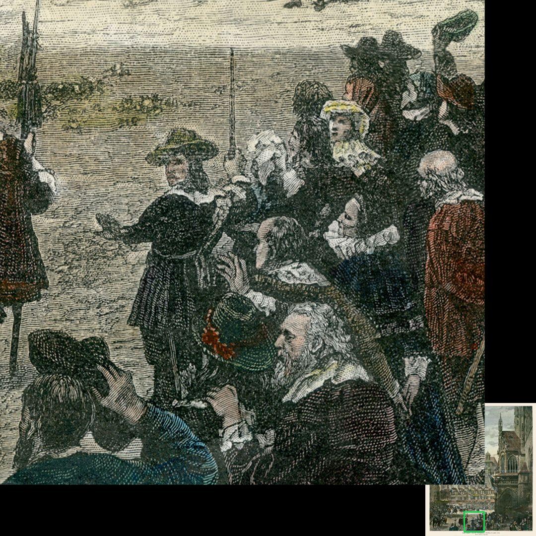 """Marktplatz in Nürnberg mit Einzug Kaiser Leopolds 1658 Paul Ritter mit """"wallendem Haar"""" im Bildvordergrund"""
