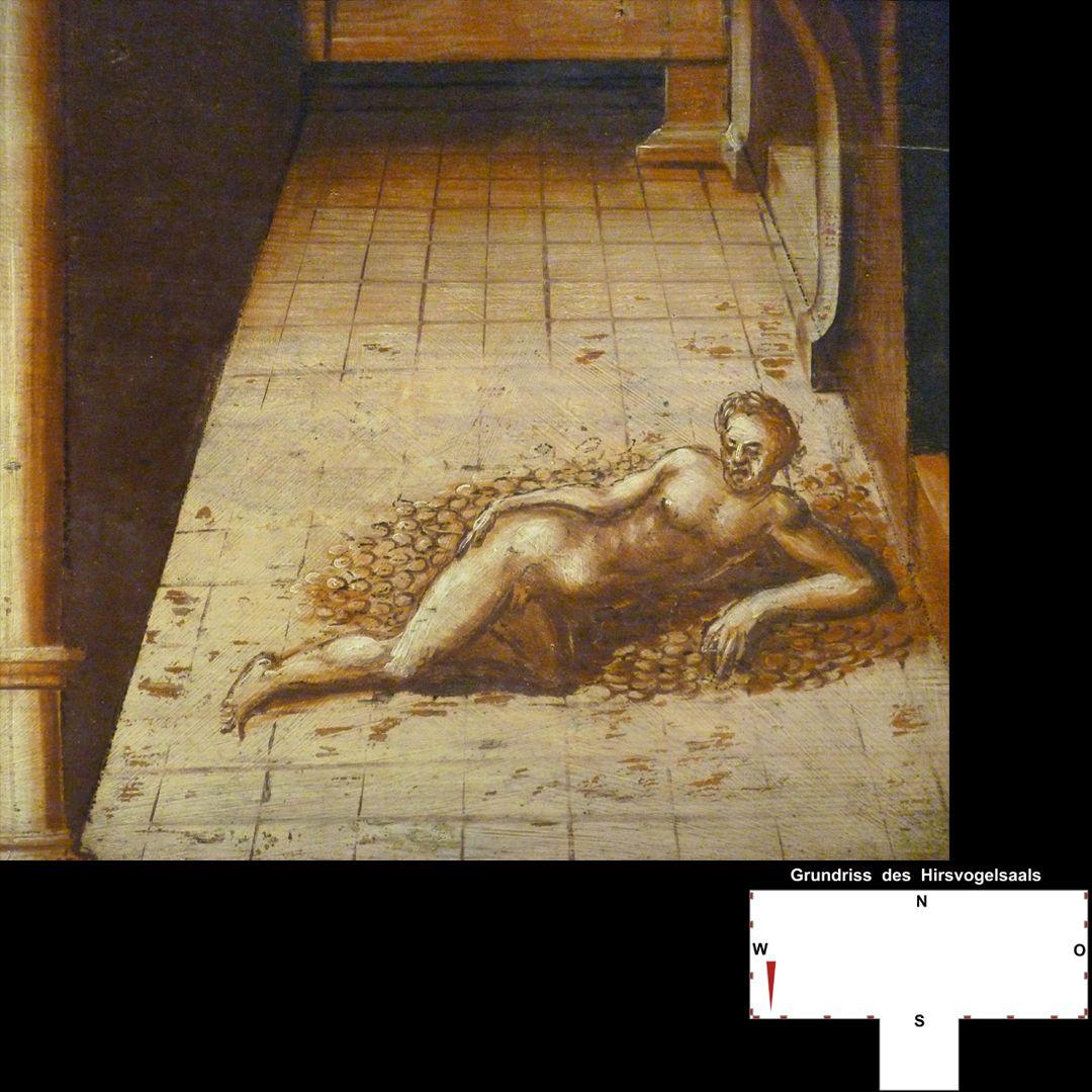 Cäsarenzyklus Vitenszene zu Gaius, genannt Caligula: Caligula schwimmt in Geld