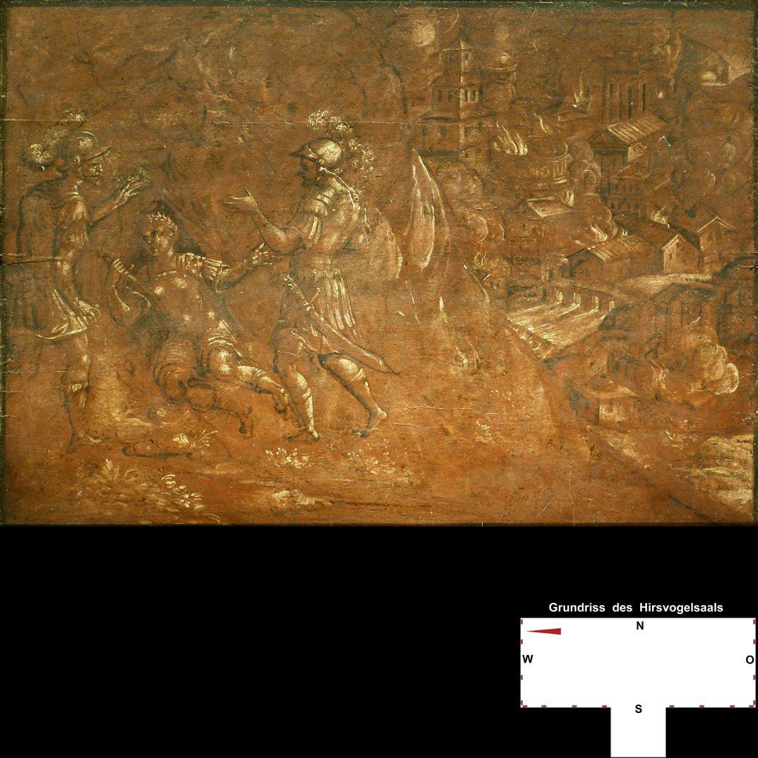 Cäsarenzyklus Vitenszene zu Nero: Gesamt mit brennendem Rom