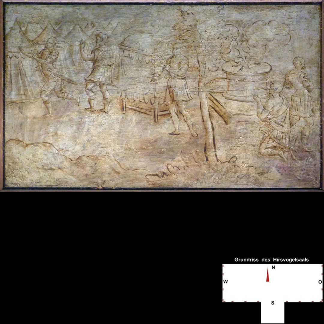 Cäsarenzyklus Vitenszene: Otho erhält Nachricht von der Niederlage der Schlacht von Bedriacum (?)