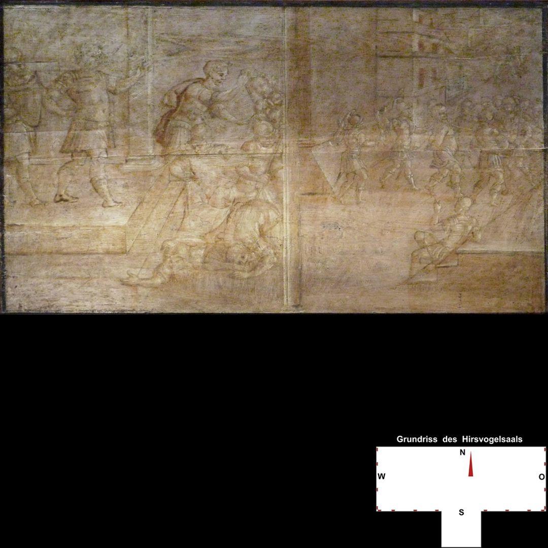 Cäsarenzyklus Vitenszene zu Vitellius, linke Bildhälfte: Auf Weisung des Kaisers werden Menschen hingerichtet; rechte Bildhälfte: Vitellius wird zur Gemonischen Treppe geführt