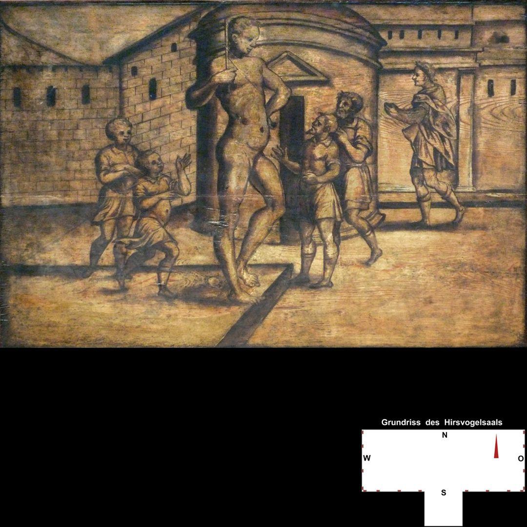 Cäsarenzyklus Vitenszene zu Vespasian: Szene mit Kolossstatue
