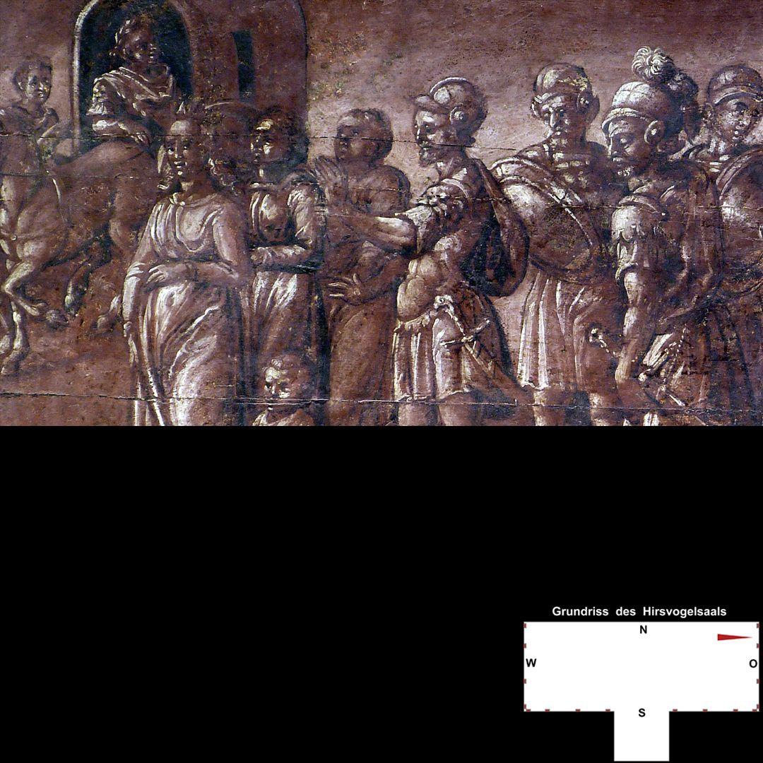 Cäsarenzyklus Vitenszene zu Titus, linke Bildhälfte: Detail mit Kaiserwagen und Gefolge