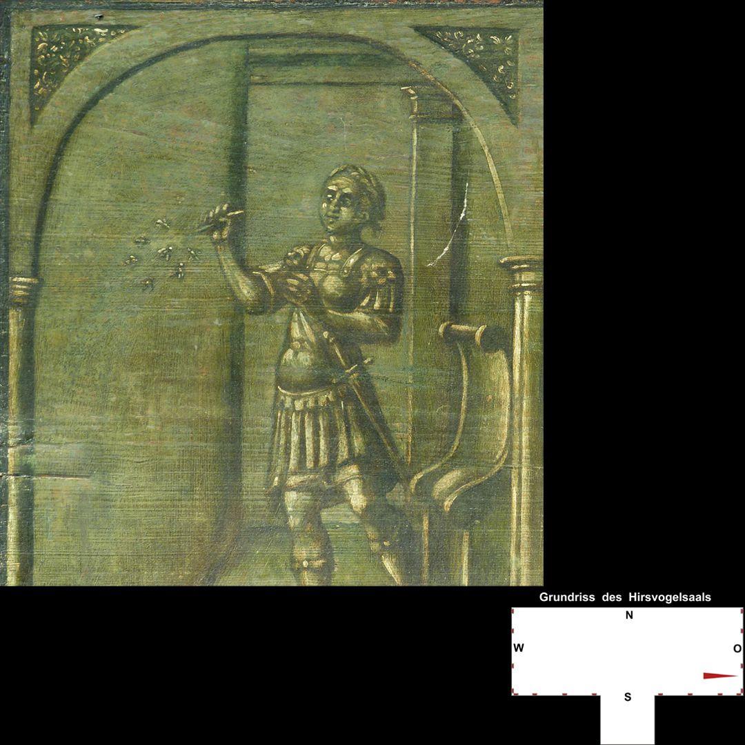 Cäsarenzyklus Vitenszene zu Domitian: Detail mit Domitian, der Fliegen spießt