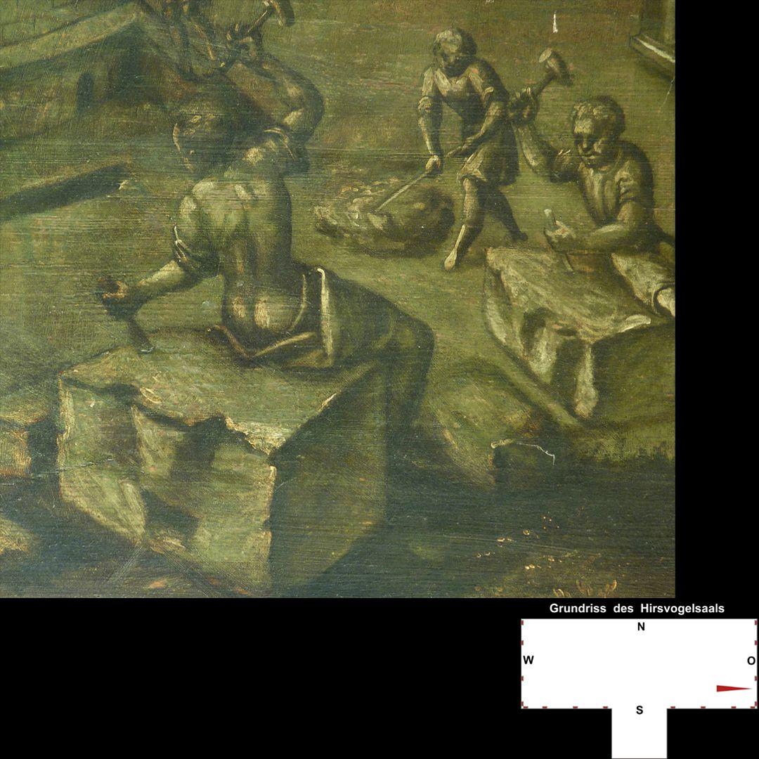 Cäsarenzyklus Vitenszene zu Domitian, rechte Bildhälfte: Detail mit Steinmetzen