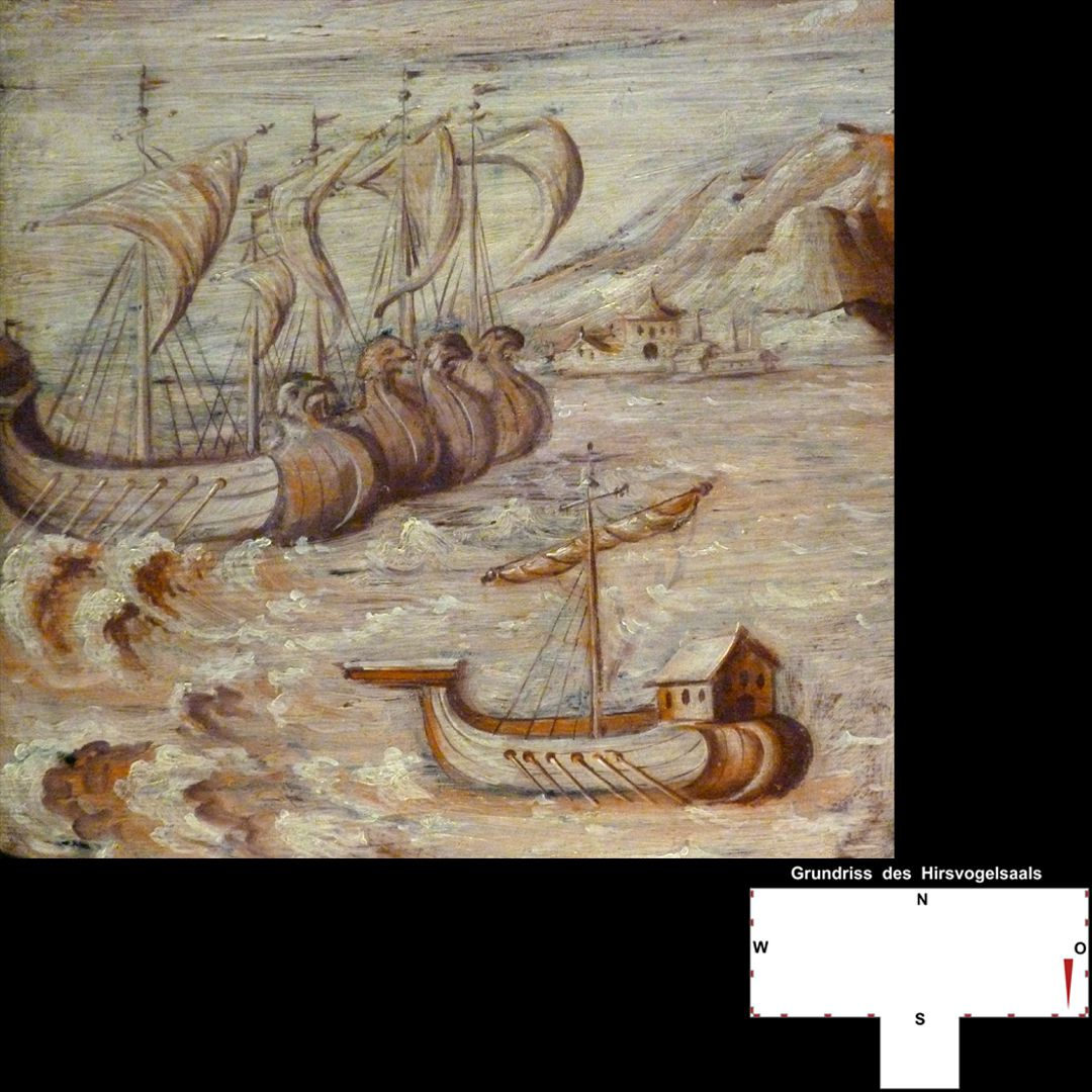 Cäsarenzyklus Vitenszene zu Caesar, linke Bildhälfte mit Schiffen