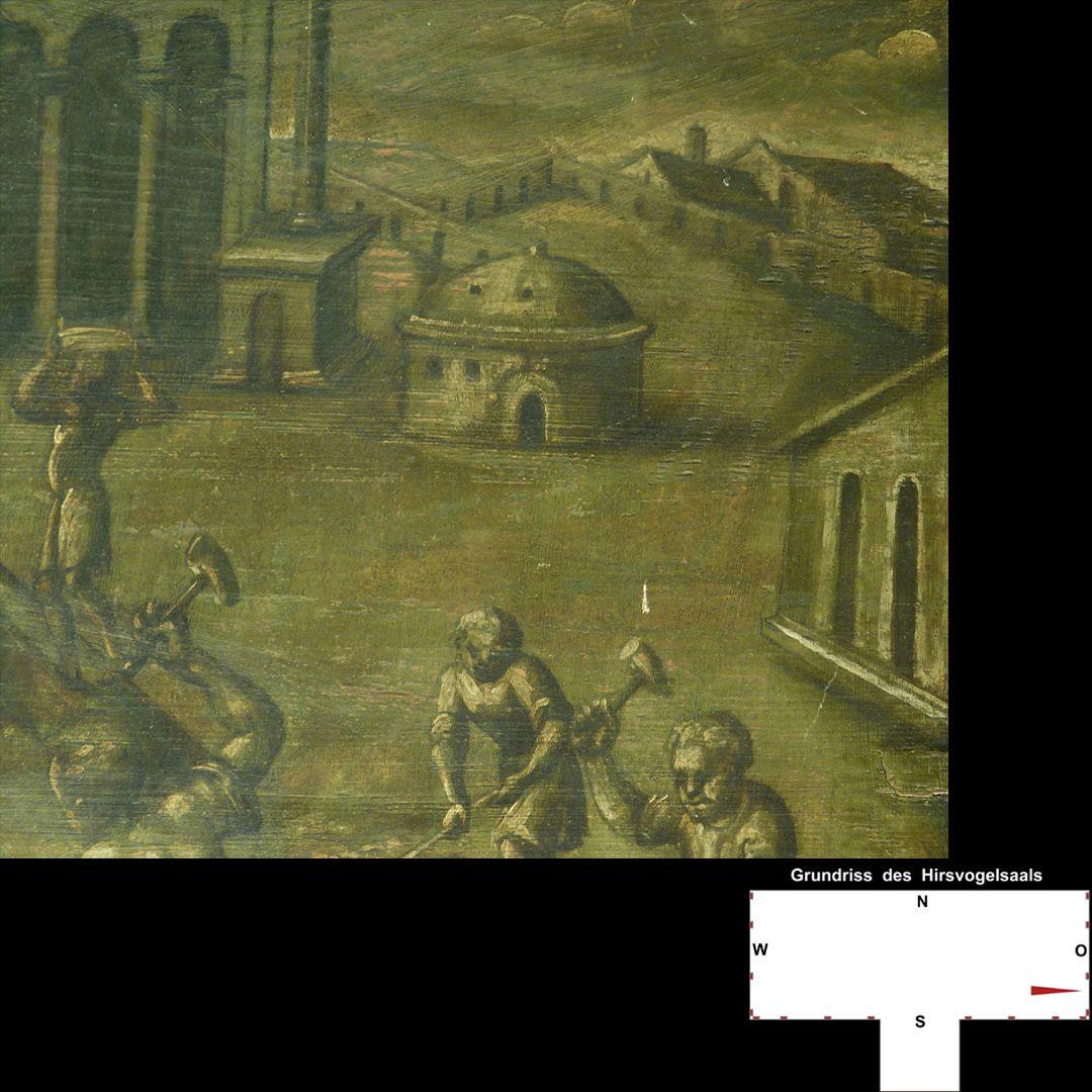 Cäsarenzyklus Vitenszene zu Domitian, rechte Bildhälfte: Detail mit Handwerkern und Architekturen