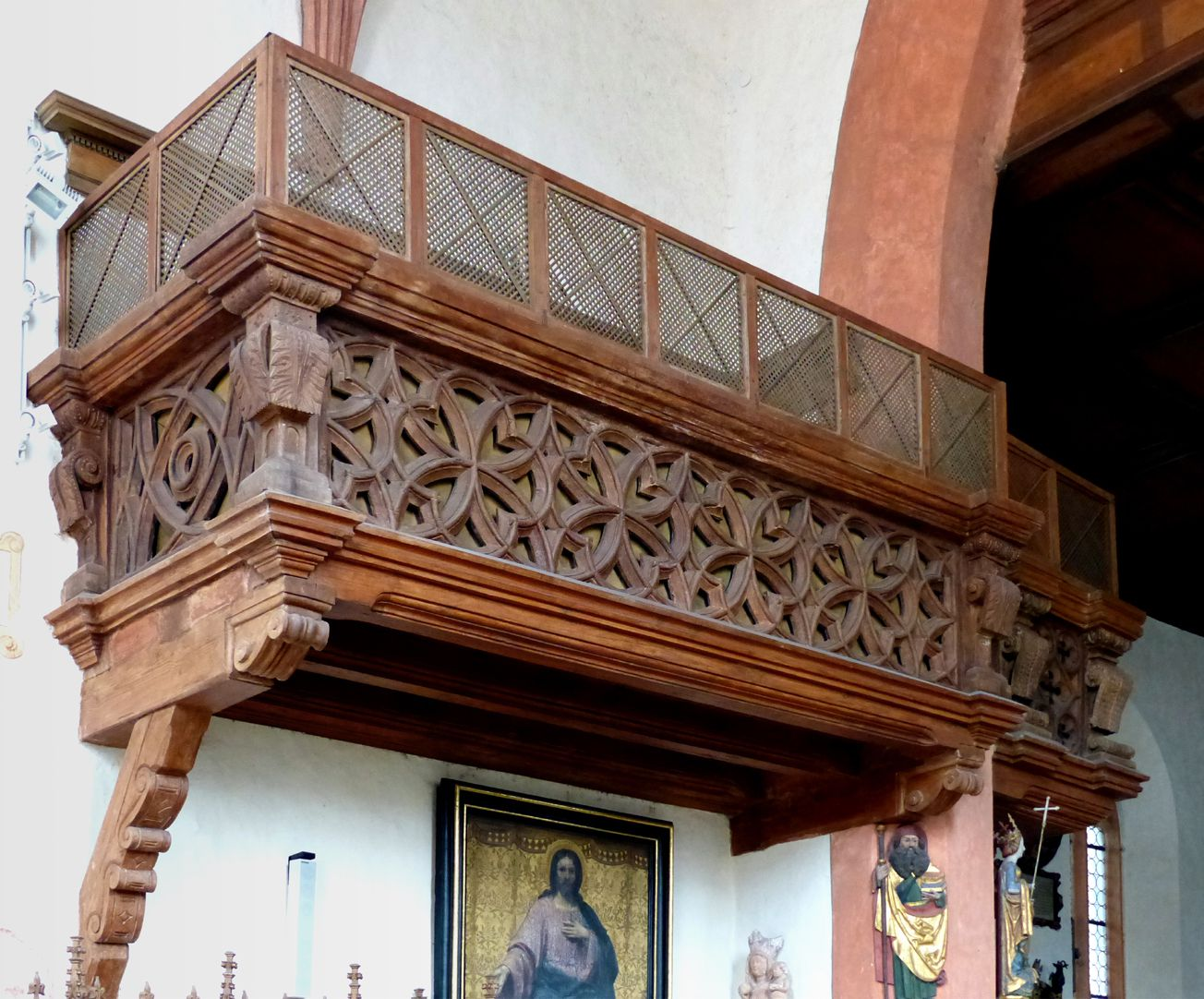 Holzemporen in der Kirche St. Marien und Christophorus, Kalbensteinberg Herrschaftsloge, Chornordwand/Triumphbogen