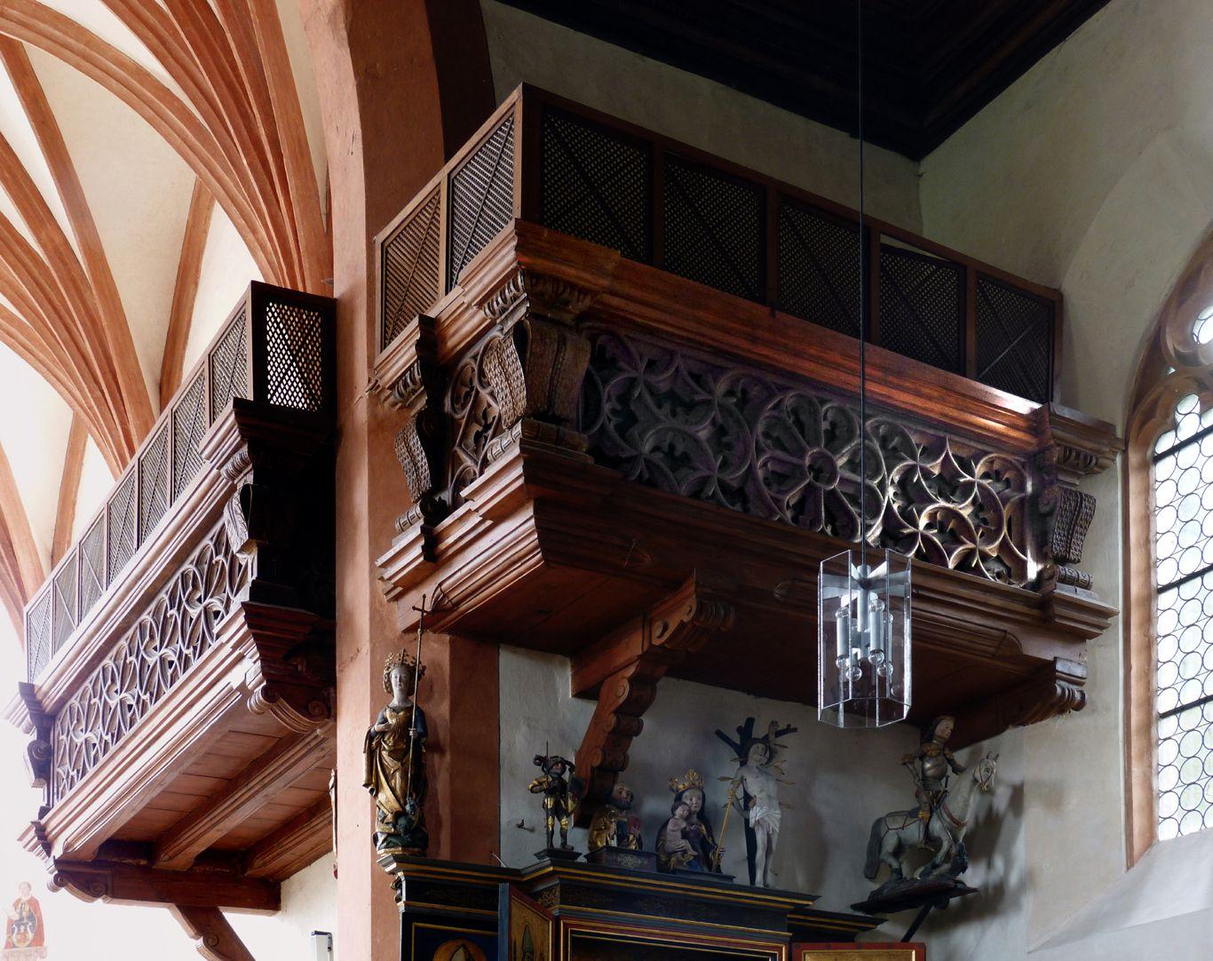 Holzemporen in der Kirche St. Marien und Christophorus, Kalbensteinberg Herrschaftsloge, Nord- und Westseite