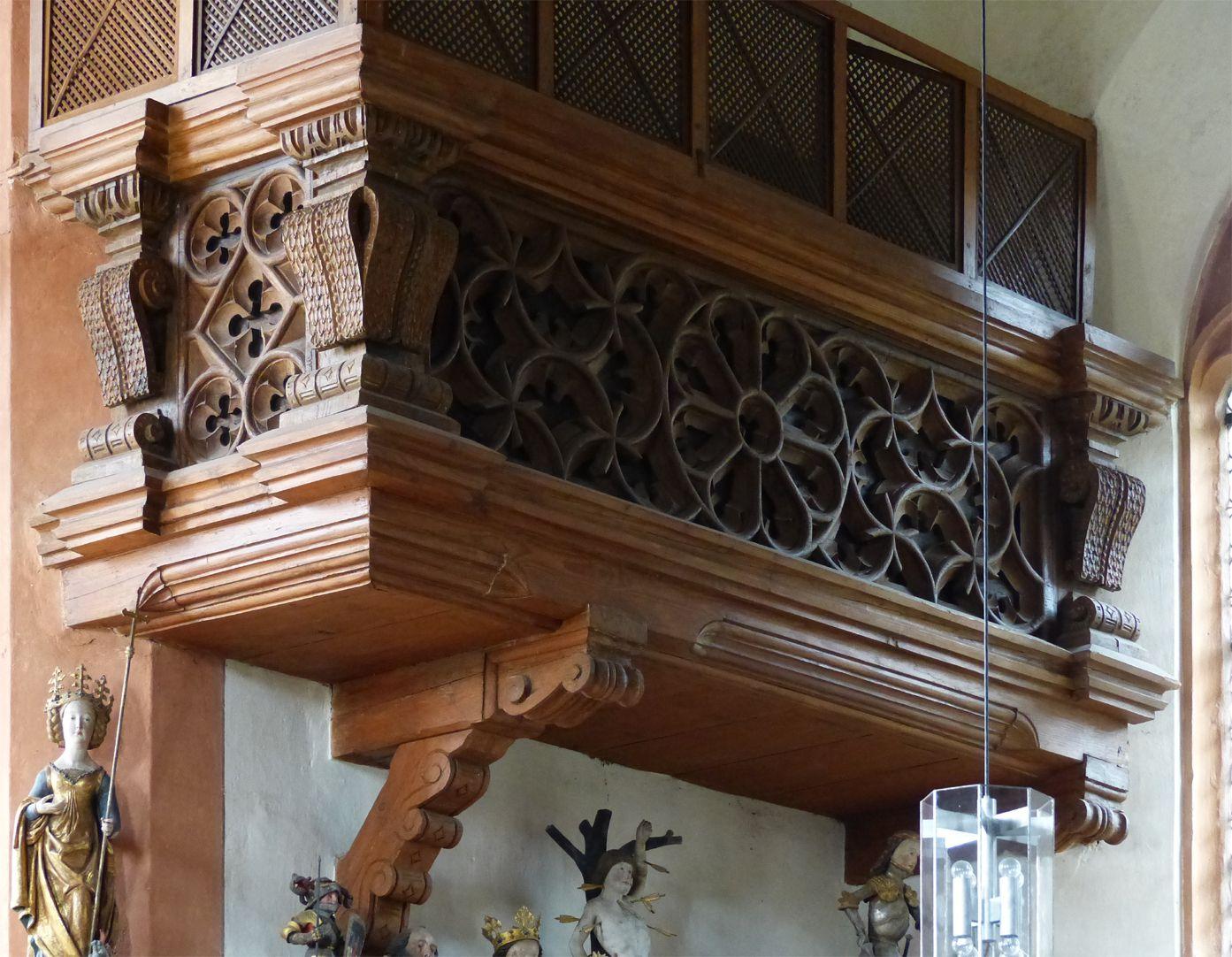 Holzemporen in der Kirche St. Marien und Christophorus, Kalbensteinberg Herrschaftsloge, westlicher Teil