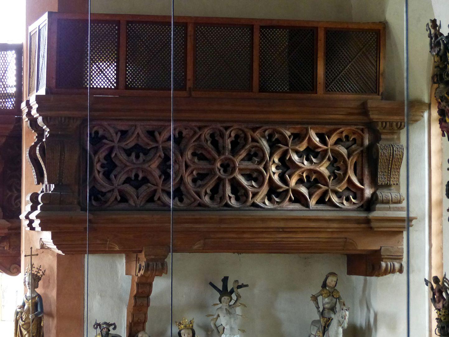 Holzemporen in der Kirche St. Marien und Christophorus, Kalbensteinberg Herrschaftsloge, westlicher Teil, Vorderansicht