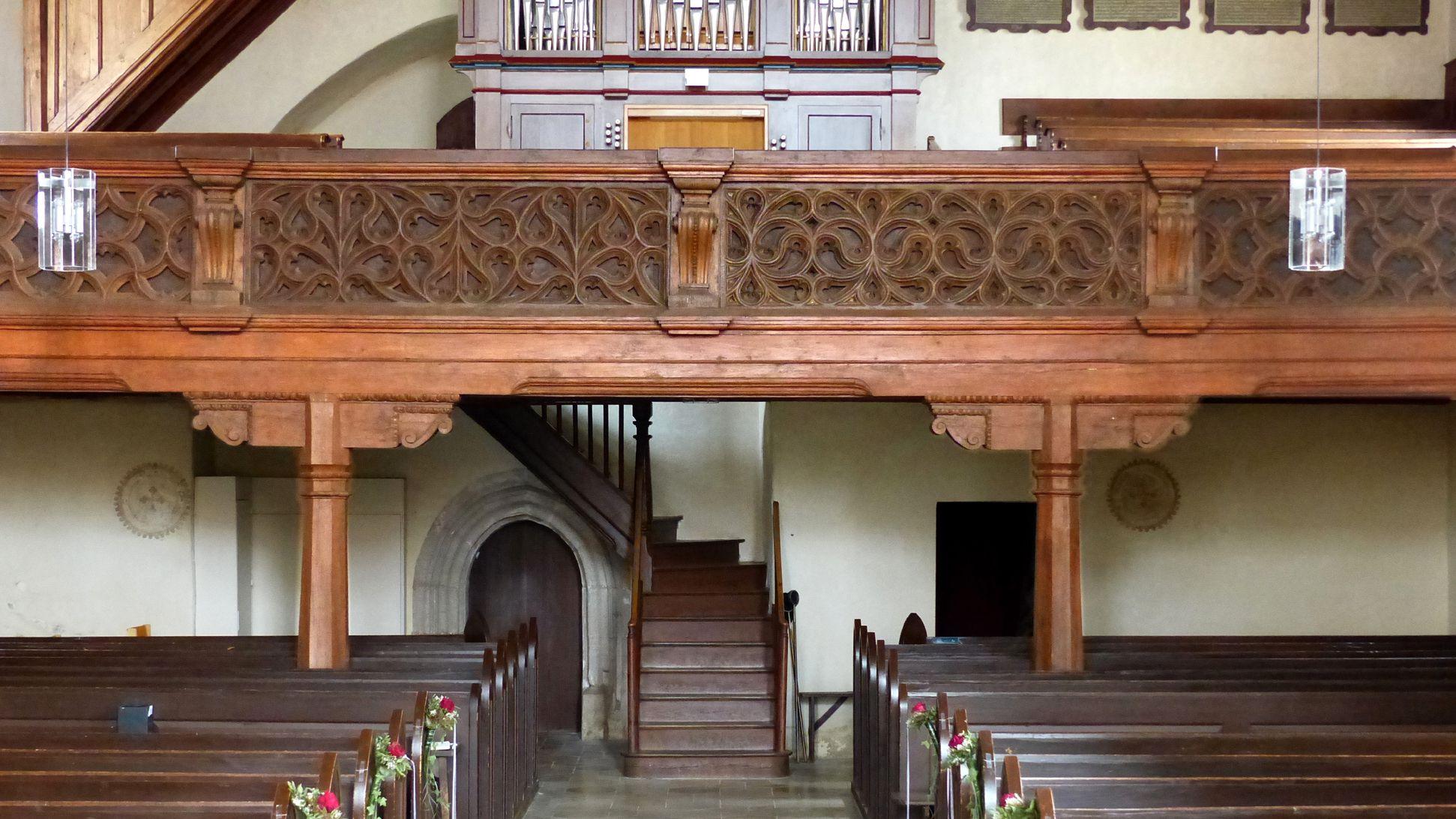 Holzemporen in der Kirche St. Marien und Christophorus, Kalbensteinberg Orgelempore, Gesamtansicht