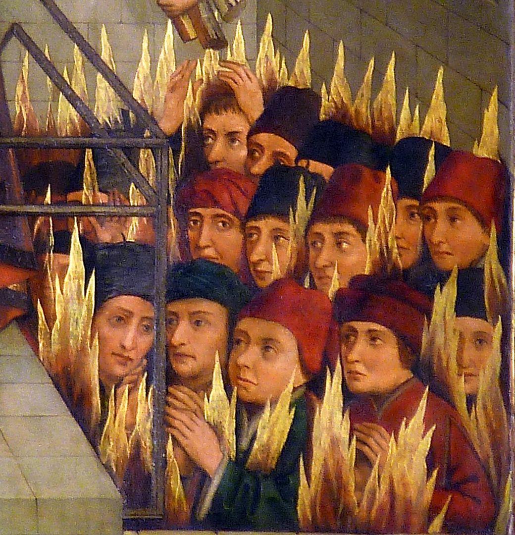 Katharinenaltar rechter Flügel, Verbrennung der  Philosophen, Detail