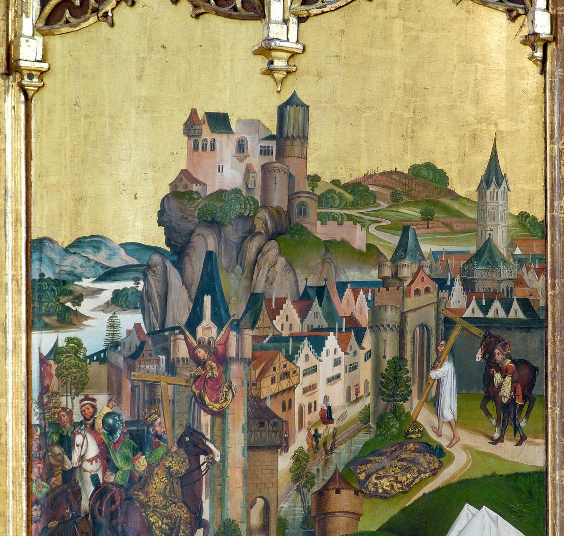 Katharinenretabel des Levinus Memminger rechte Flügelinnenseite oben: gotische Stadt