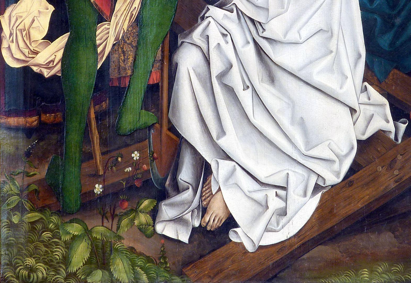 Katharinenretabel des Levinus Memminger rechte Flügelinnenseite: Detail mit Erdbeerpflanzen, Schaufel und der unteren Partie des wiedererweckten Toten