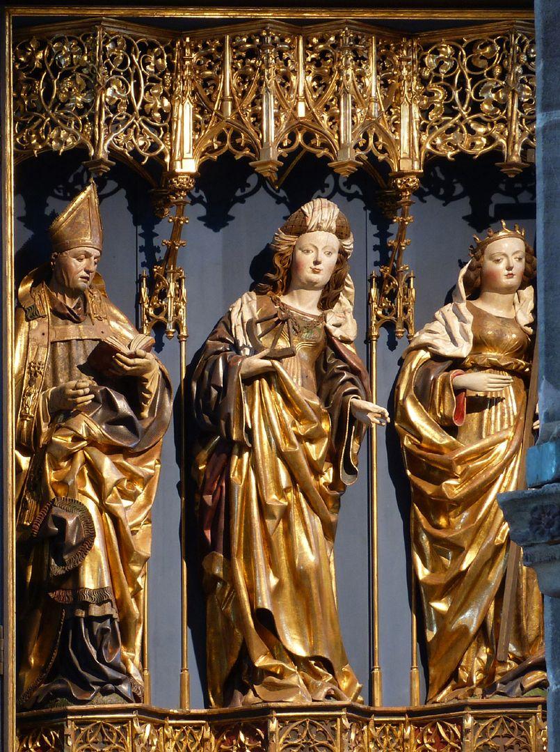 Katharinenretabel des Levinus Memminger Schrein mit Bischof Levinus [Livinus] von Gent mit Buch, St. Katharina mit Rad und St. Helena mit dem Kreuz (hier Sicht durch Pfeiler leicht verdeckt)