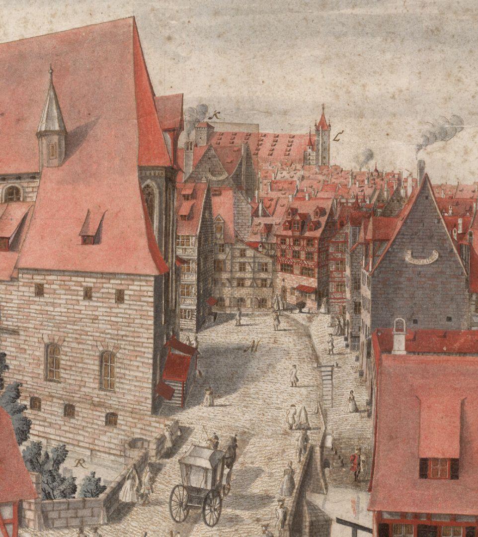 Heilig-Geist-Spital Blick Richtung Heilig Geist Kirche und Kaiserstallung (am oberen Horizont)