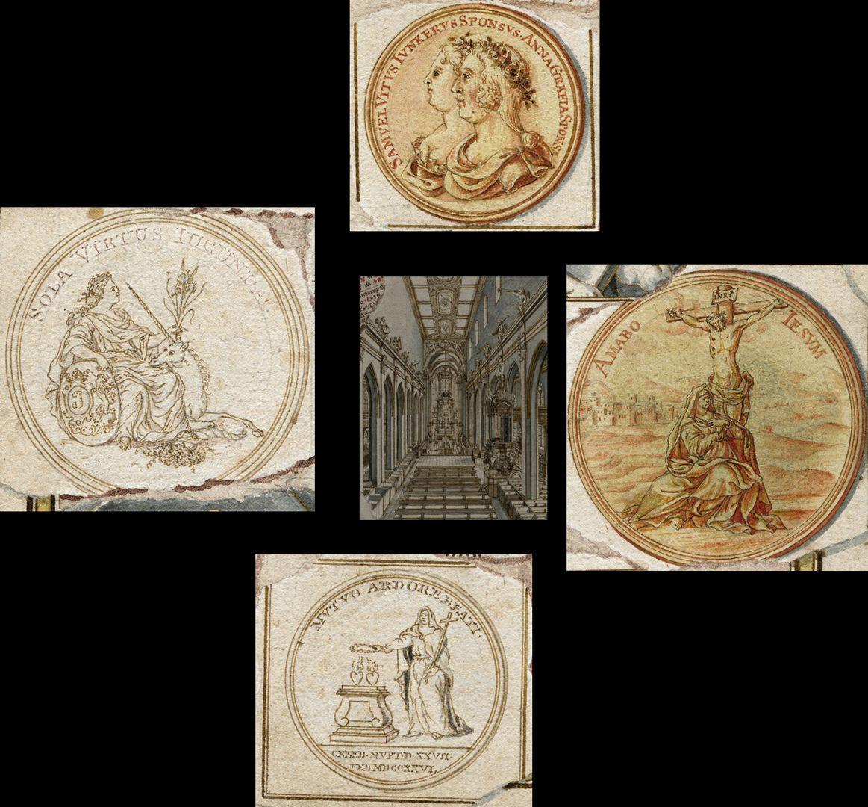 Quodlibet zum Heilig-Geist-Spital Collage der um die Mitte angeordneten Gold- und Silbermedaillen