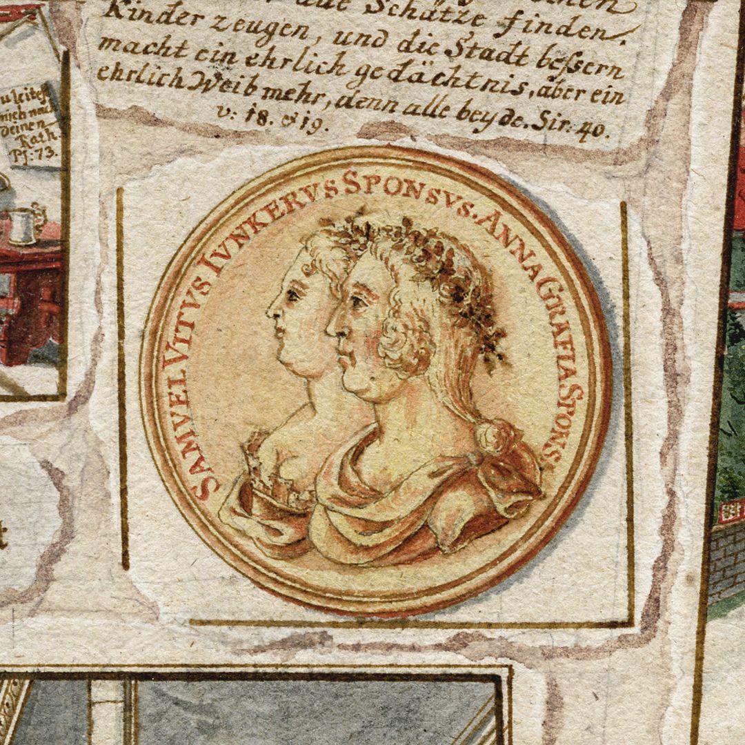 Quodlibet zum Heilig-Geist-Spital mittlerer oberer Bildrand, Goldmedaille mit Samuel Veit Juncker und seiner Ehefrau Anna Gräfin, beide werden in der lateinischen Inschrift als Auftraggeber genannt
