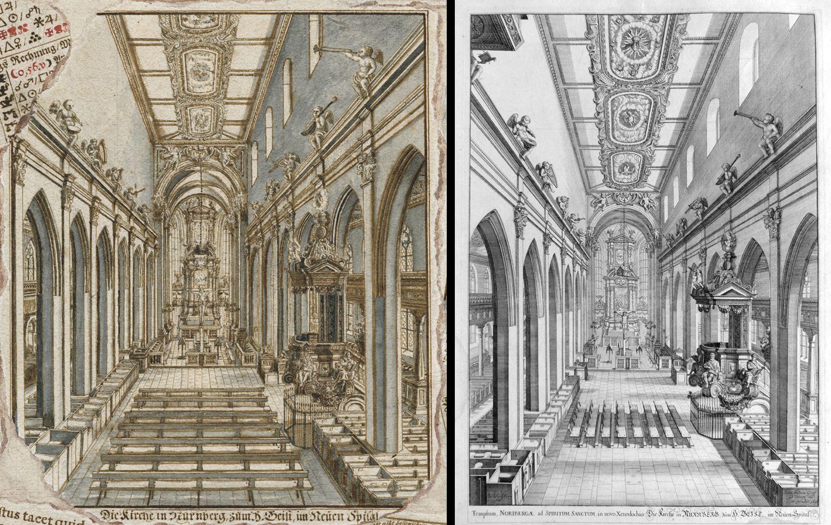 Quodlibet zum Heilig-Geist-Spital links Innenansicht der Spitalkirche auf dem Quodlibet, rechts die Vorlage von Johann Andreas Graff aus dem Jahre 1696