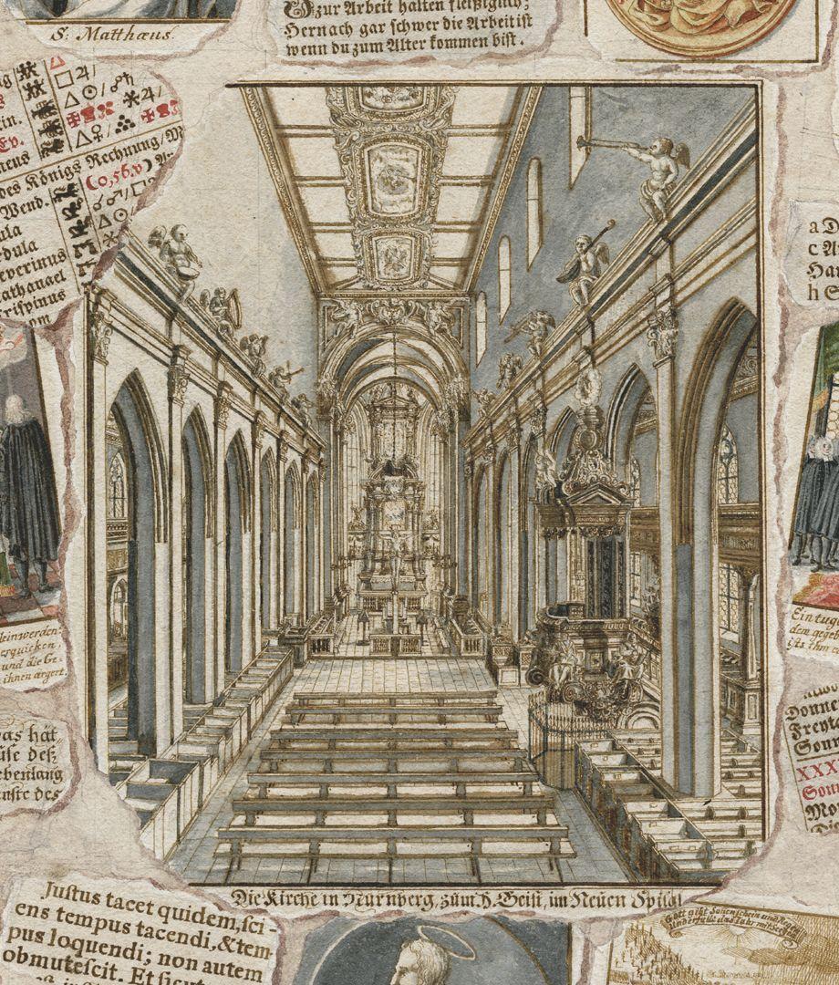 Quodlibet zum Heilig-Geist-Spital zentral positionierte Innenansicht der Spitalkirche nach einem Kupferstich von Johann Andreas Graff aus dem Jahre 1696