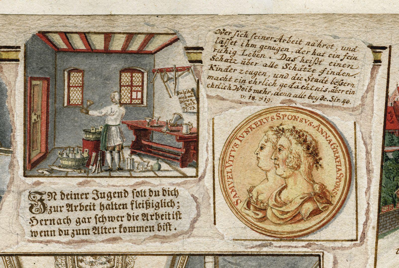 """Quodlibet zum Heilig-Geist-Spital """"Quodlibetzettel"""" am mittleren oberen Bildrand"""