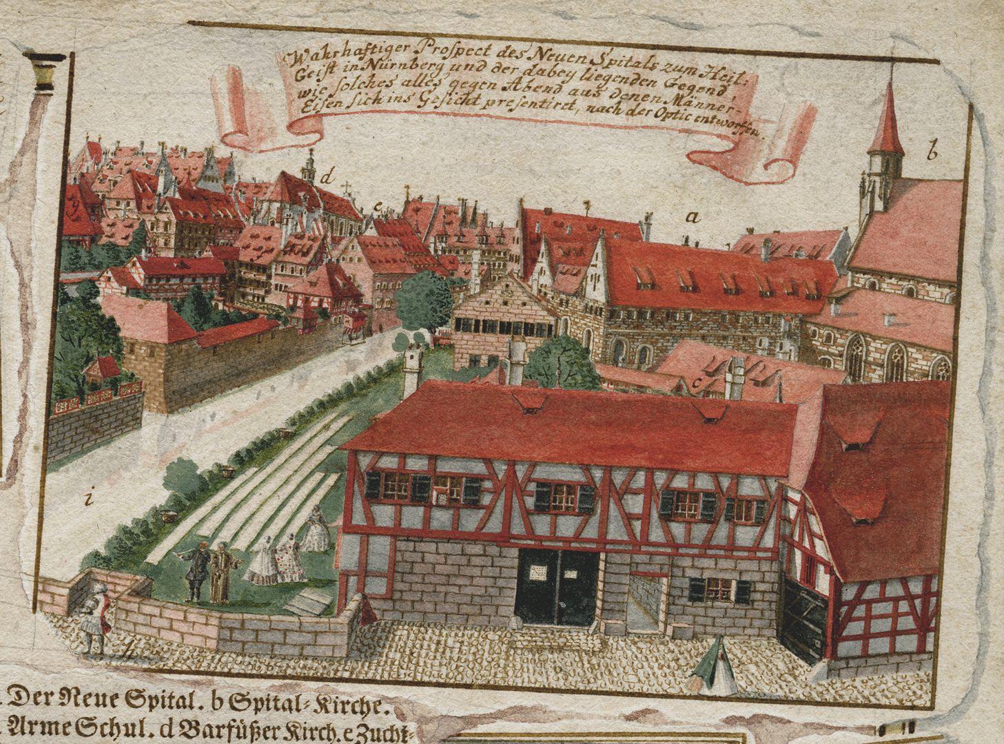 Quodlibet zum Heilig-Geist-Spital rechte obere Blattecke mit der Ansicht des Heilig Geist Spitals, eine Teilkopie seiner eigenen Panoramaansicht