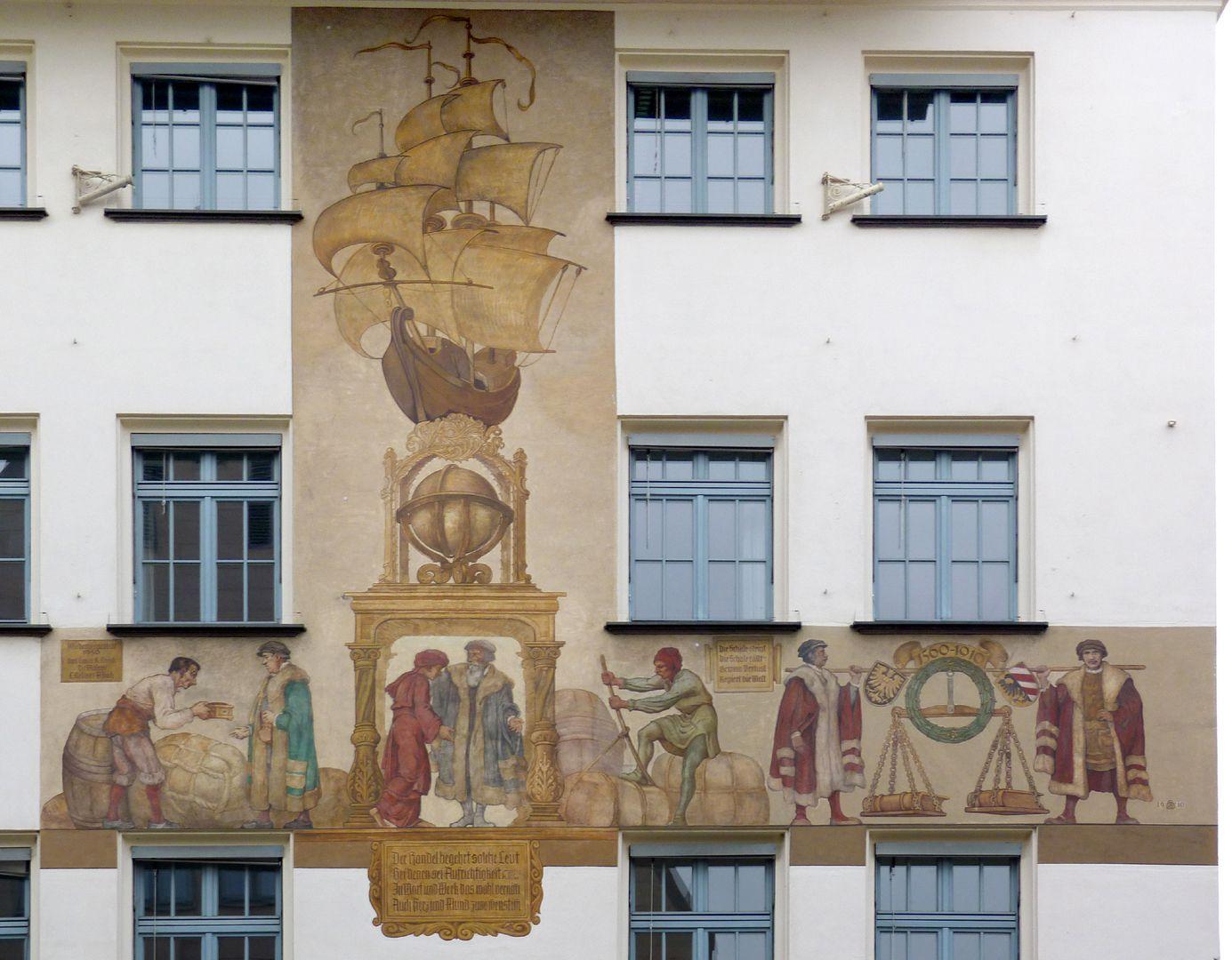 Kaufmannszug Südfassade, Gesamtansicht der Wandmalerei