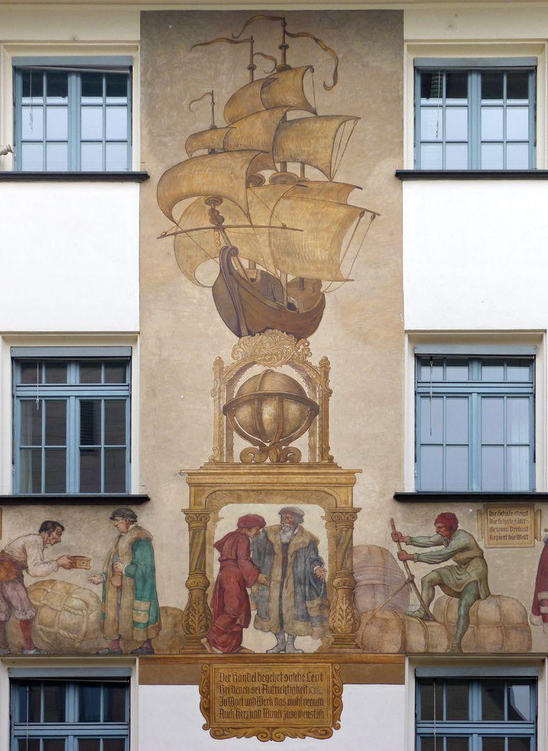 Kaufmannszug Südfassade, Detail: Allegorie des Überseehandels.