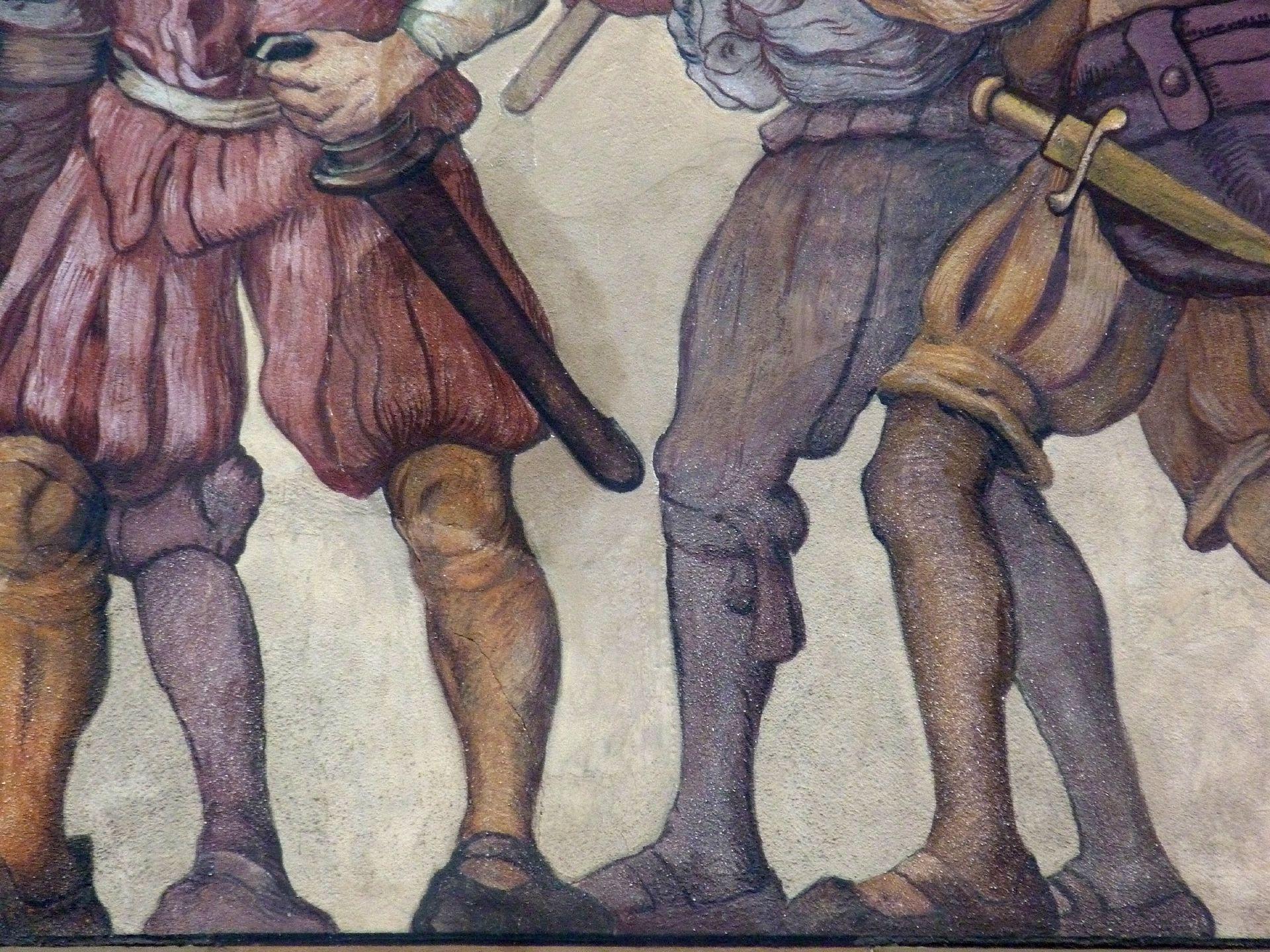 Kaufmannszug Ostfassade, Detail: Schutzkolonne