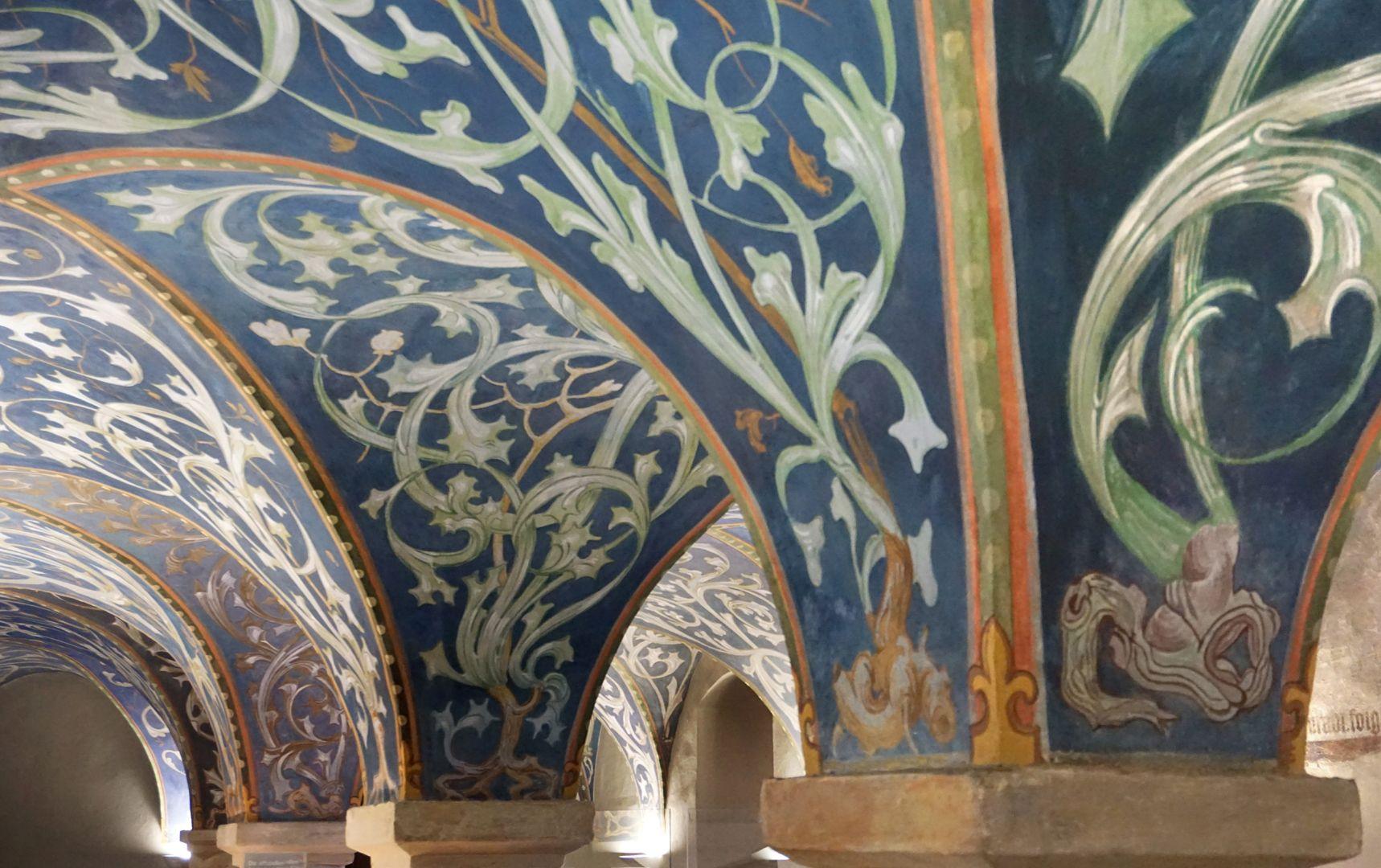 Gewölbeausmalung des Orlamündesaals Gewölbekappen mit Rankenwerk