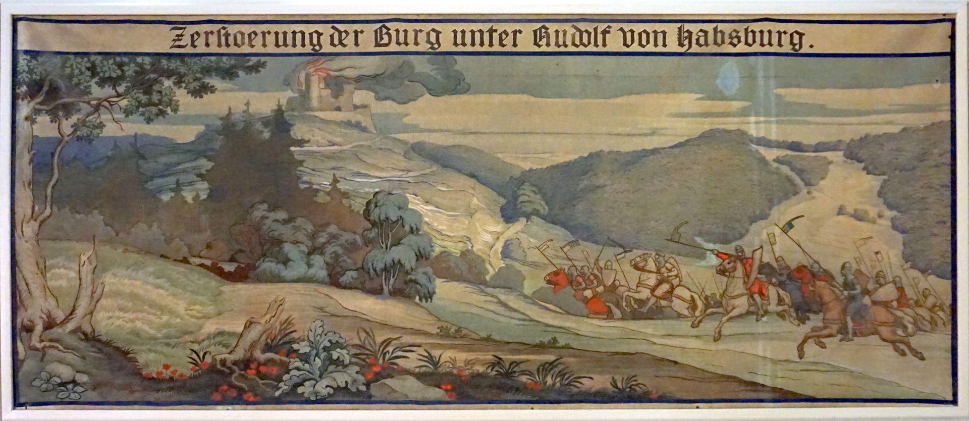 Gewölbeausmalung des Orlamündesaals Beispiel eines Wandteppichs mit historisierender Szene zur Burggeschichte
